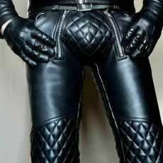 Real Leather Men's Pant Punk Kink Jeans Trousers BLUF Pants Bikers Breeches Pant