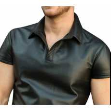 Men's Real Sheep Leather Short Sleeve Shirt Black New Style Party Club Shirt