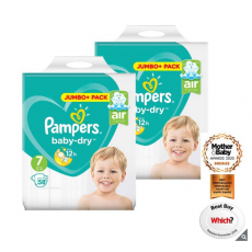 Pampers Baby-Dry Nappies Size 7, 2 x 58 Jumbo Packs