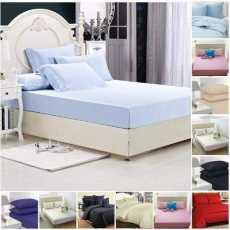 Highliving Luxury Plain Dyed Pleated Poly Cotton Platform Base Valance Sheets