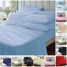 Highliving FITTED SHEETS PERCALE PLAIN DYED LUXURY COMBED NON IRON SINGLE...