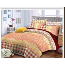 """King Size Multi Color Printed Bed Sheet (98""""x95"""") + 2 Pillow Case (19""""x29"""")"""