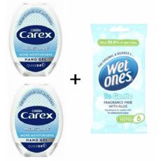 2 x CAREX HAND SANITISER GEL 50ml with 12 antibacterial wipes
