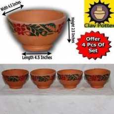 Clay Bowl  Mitti ki Piyali  Multi Purpose Pot  Set of 5 Pcs (Small)