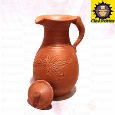Clay Jug 2.5 Liter  Nice & Beautiful Design  Drink Pot & Home Decor