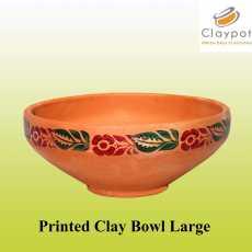 Clay Bowl Large Printed Design  Mitti ka Piyala  Serving Pot & Home Decor