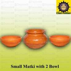 Small Clay Matki with 2 Bowls  Drinking Pot & Home Decor  Multi Purpose Pot