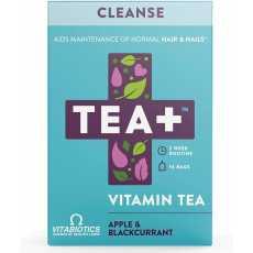 TEA+ (Tea Plus) Cleanse Vitamin Tea - Green Herbal Tea Bags with Selenium