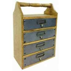 Solid Wood Cabinet With 4 Drawers 38cm Handle Metal Plating Home Decor Furniture