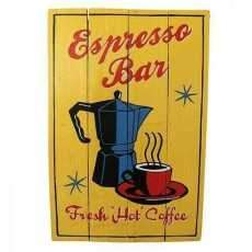 Rough Wooden Signs Espresso Bar Pub Cafe Art hand painted Home Decor Gift