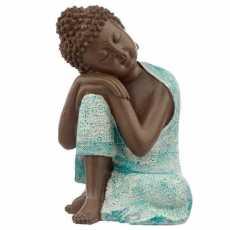 Decorative Spiritual Ornament Turquoise & Brown Buddha Figurine - Contemplation