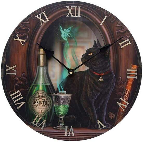 Decorative Black Cat Absinthe Lisa Parker Wall Clock Animal Watch Room Gift