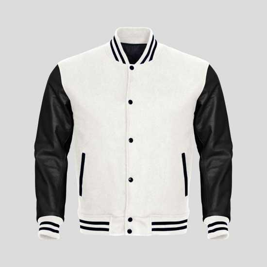 Classic Varsity Letterman bomber jacket- White Wool Body & Black Leather Sleeves
